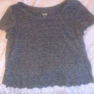 grey cropped  t shirt